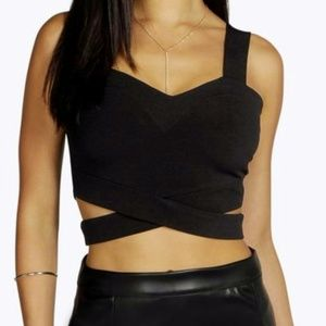 Black Boohoo Cut Out Bralet - NWT